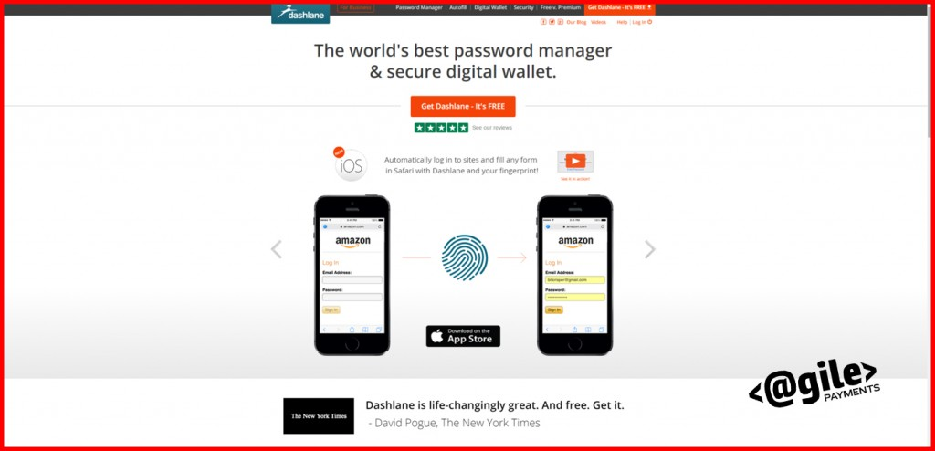 Dashlane Homepage Screenshot to show SaaS tools