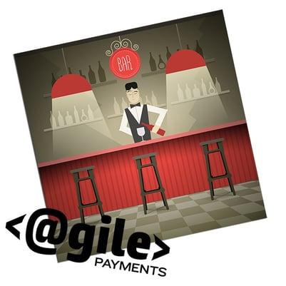 illustration of bartender standing behind a bar