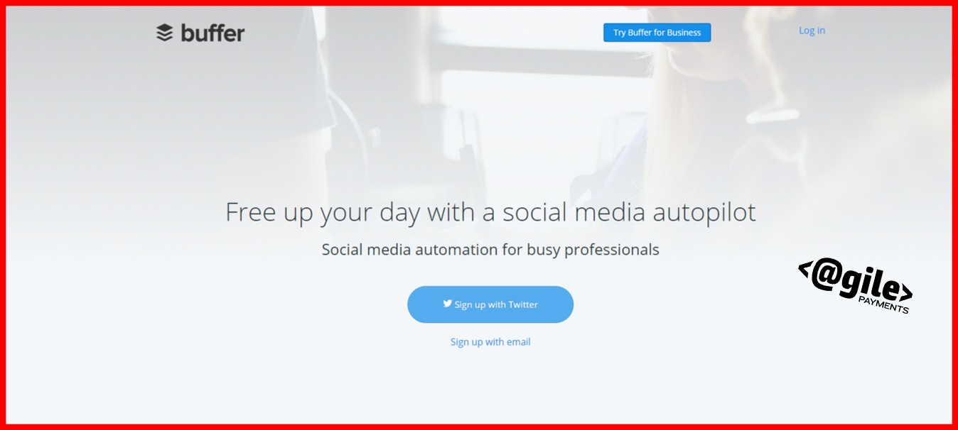 screenshot of Buffer home page