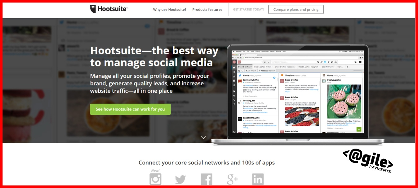 screenshot of Hootsuite home page