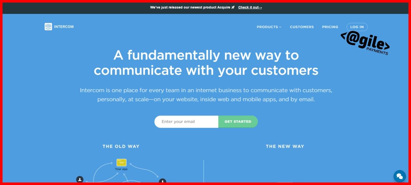 screenshot of Intercom home page