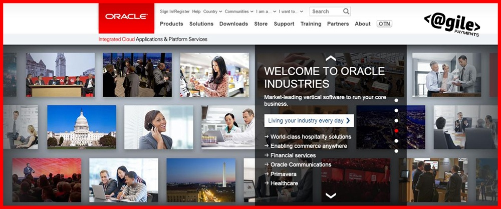 screenshot of Oracle's home page