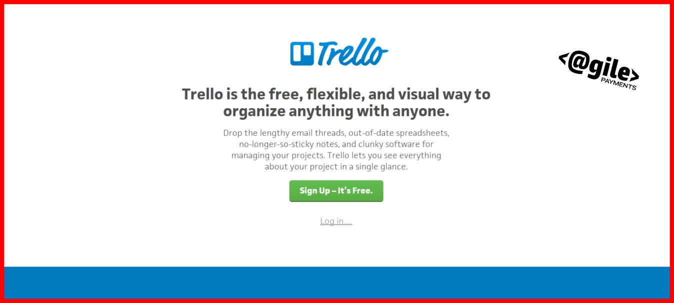 SaaS Trello home page screenshot for advertising