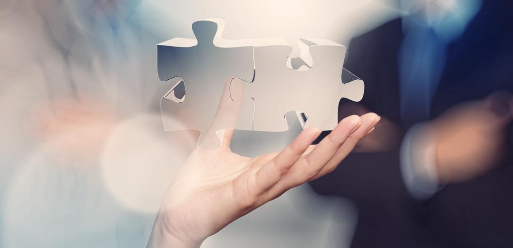 Businessman hand showing partnership